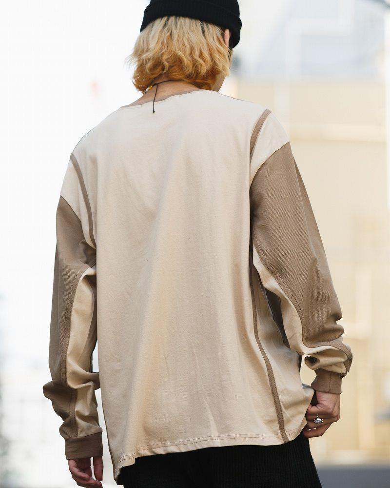 《2色》ドロップショルダーバイカラーロングTシャツの画像7